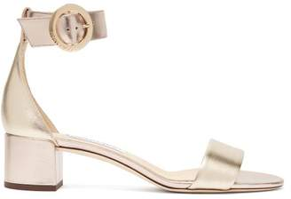 Jimmy Choo Jaimie Block Heel Metallic Leather Sandals - Womens - Gold