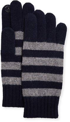 Portolano Men's Striped Jersey Swirl Stitch Gloves