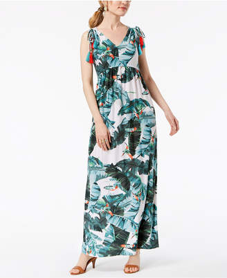 John Paul Richard Petite Printed Shoulder-Tie Maxi Dress