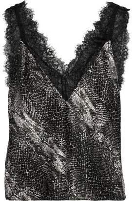 Fleur Du Mal Margo Lace-Trimmed Snake-Print Silk-Charmeuse Camisole