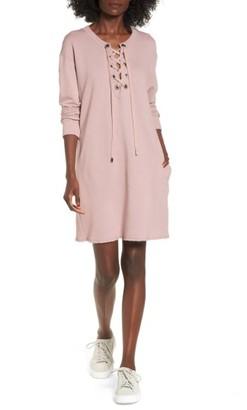Women's Socialite Lace-Up Sweatshirt Dress $55 thestylecure.com