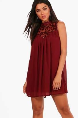 boohoo Boutique Sequin Chiffon Swing Dress