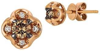 LeVian Le Vian Women's Chocolatier Vanilla Diamond, Chocolate Diamond and 14K Strawberry Gold Earrings