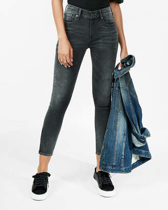 Express Mid Rise Black Wash Cropped Stretch Jean Leggings