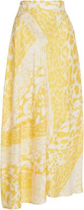 Victoria Beckham Leopard-Print Silk-Crepe Midi Skirt