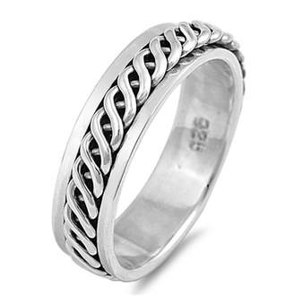 Celtic Glitzs 925 Sterling Silver Spinner Ring (Size 12)