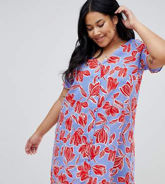 Glamorous Curve floral tunic dress with pom pom hem