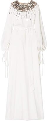 Oscar de la Renta - Embellished Tulle-trimmed Stretch-silk Gown - Ivory