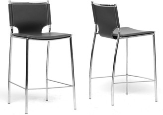 Baxton Studio 2-Piece Montclare Leather Modern Counter Stool Set