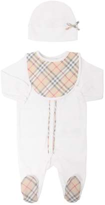Burberry Cotton Jersey Romper, Bib & Hat