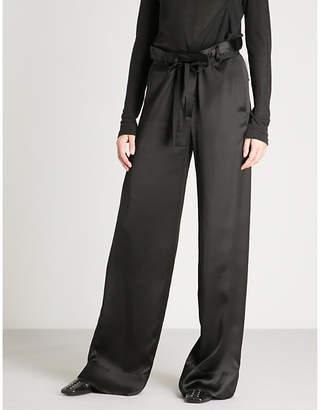 Ann Demeulemeester Wide-leg high-rise satin trousers