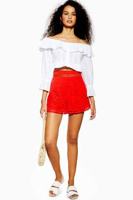 Topshop Womens Broderie Anglaise Shorts - Red