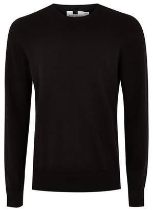 Topman Mens Black Hem Stitch Sweater