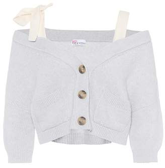 RED Valentino Off-the-shoulder wool cardigan