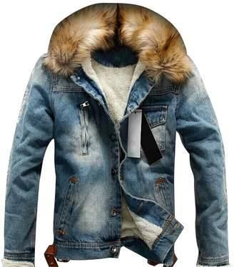 4bcd96527dd Fensajomon Men Casual Fleece Lined Faux Fur Collar Warm Denim Trucker Jacket  Coat L