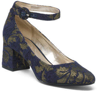 Metallic Floral Block Heels