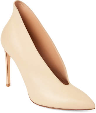 Francesco Russo Ivory Pointed Toe Leather Booties