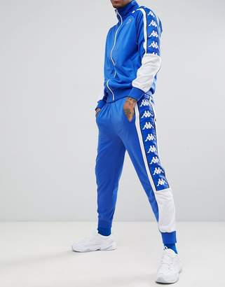 Kappa joggers with large logo taping in blue