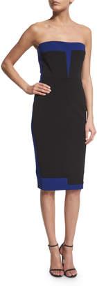 Victoria Beckham Strapless Bustier Two-Tone Dress