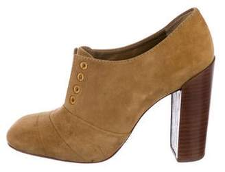 Tory Burch Suede Square-Toe Booties
