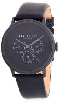 Ted Baker Classic Stainless Steel and Leather-Strap Watch