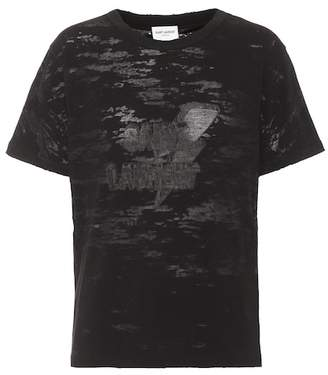 Saint Laurent Printed cotton-blend T-shirt