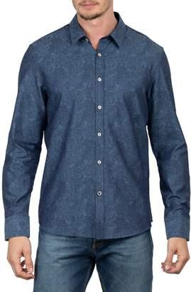 English Laundry Big Tall Jacquard Paisley Long Sleeve Button-Down Shirt