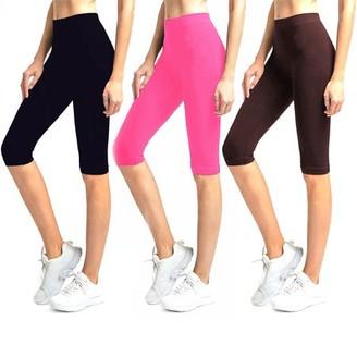 Glass House Apparel Solid Knee Length Short Spandex Yoga Leggings 3 Pack (Black, Neon Pink, Brown)