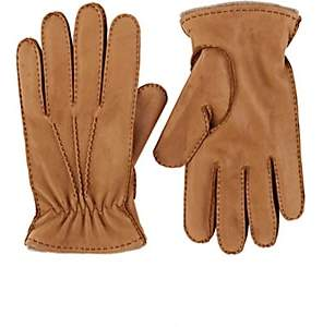 Barneys New York MEN'S CASHMERE-LINED LEATHER GLOVES-CAMEL SIZE 7.5