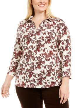 Charter Club Plus Size Paisley Polo-Style Shirt, Created for Macy's
