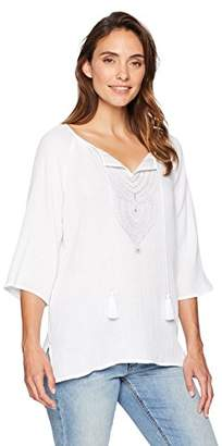Ruby Rd. Women's Embellished Double-Gauze Top with Tassel Neck