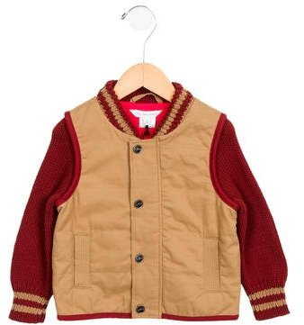 Little Marc Jacobs Little Marc Jacobs Boys' Knit-Paneled Embroidered Jacket w/ Tags