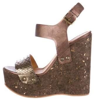 Lanvin Metallic Python Sandal Wedges