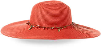 Capelli of New York Beaded Feather Charm Floppy Hat