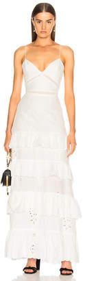 Nicholas Embroidered Ruffle Dress