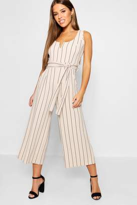 boohoo Petite Striped Culotte Jumpsuit