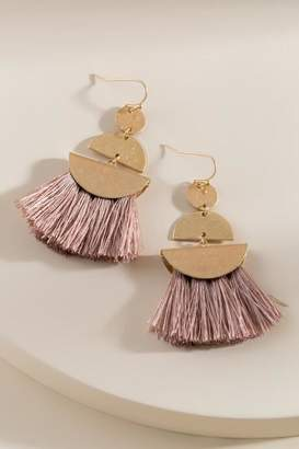 francesca's Paige Tasseled Shape Drop Earrings in Taupe - Taupe