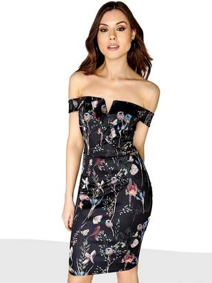 Girls On Film Based Floral Printed Bardot Bodycon Dress