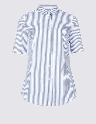 Marks and Spencer Cotton Rich Striped Short Sleeve Shirt
