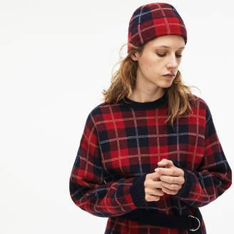 Lacoste Women's Stand-Up Neck Tartan Check Print Wool Jacquard Sweater