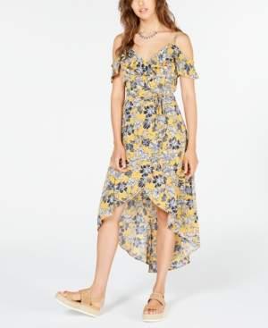 BCX Juniors' Floral Cold-Shoulder High-Low Dress
