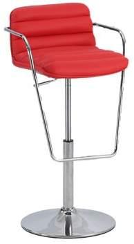 Bella Vita 0692 Pneumatic Gas Lift Adjustable Stool w/ Ribbed Pattern back in Red