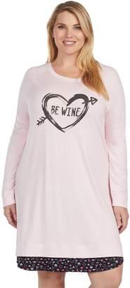 Cuddl Duds Plus Size Simply Sweet Long Sleeve Crewneck Sleep Shirt