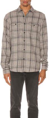 Frame Long Sleeve Double Flap Pocket in Grey Multi | FWRD