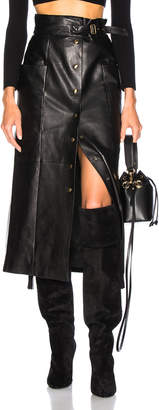 Alberta Ferretti Button Front Leather Midi Skirt