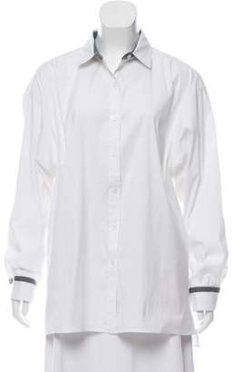 Lafayette 148 Embellished Button Down Top