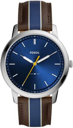 Fossil Minimalist Stainless Steel Leather-Strap 3-Hand Watch