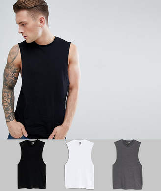 Asos DESIGN relaxed tank with dropped armhole 3 pack SAVE