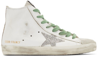 Golden Goose White and Silver Francy Sneakers