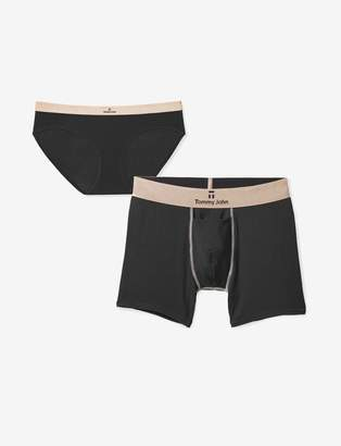 Tommy John His & Hers Second Skin Trunk and Brief, Black Rose Gold Pack
